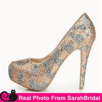 Wholesale Stiletto Heels Sale - Sparkly Bridal Shoe for Brides Bridesmaids Party Women's Wedding Evening Pageant Dress Shoes Platform Highest Fashion Prom Girls' Pumps Sale