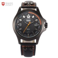 Wholesale Shark Military Sports Watch - SHARK ARMY Orange Black 3D Electroplate Plaid Date Quartz Steel Buckle Leather Band Strap + Box Military Sport Men Watch  SAW145