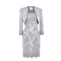 saten elbiseli dantel ceket toptan satış-Gümüş Dantel Anne Gelin Elbiseler Scoop Sequins Boncuklu Saten Diz Boyu Anne Ceket Ile Gelin Elbiseler Kısa Elbiseler