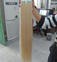 Wholesale S Blonde Hair Extensions - Grade 10A---Double Drawn Blonde Color 613 Pu tape in hair extension 100% Human remy hair 12''-26'' Weight 2 g s 80g pack 40pcs, free DHL