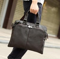 Wholesale High Quality Mens Bags - The factory direct selling brand new fashion bag retro casual mens hand satchel simple and high quality leather large men Satchel