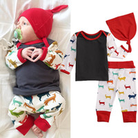 Wholesale Costumes Top Hats - autumn winter baby suits Unisex Boy Girl Deer Top T-shirt+Pants+hat 3pcs korean style kids Coming Home Outfits top Set Costume free shipping