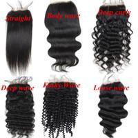 doğal gevşek kıvırcık saç uzantıları toptan satış-Brezilyalı insan saçı Tam Dantel Kapaklar 4x4 inç Doğal renk Düz Vücut Derin Kinky Gevşek Kıvırcık dalga saç uzantıları