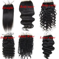 Wholesale Hair Extensions Full Lace Closure - Brazilian human hair Full Lace Closures 4x4inch Natural color Straight Body Deep Kinky Loose Curly wave hair extensions