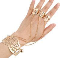 promi-stil schmuck großhandel-4 Mix Stile Armband Schmuck Mode Promi Hohlring Kette Armband Armreifen Gold Silber Farben Armband für Frauen Großhandel