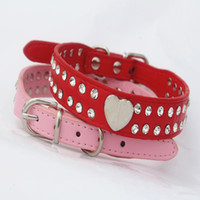 Wholesale white leather dog collars for sale - Group buy 5 Colors Sizes Double Face Strass Dog Collars PU Leather Two Line White Strass With Silvery Heart Dog Collars Stop Barking
