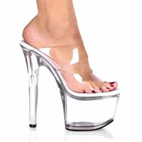 Wholesale Making Platform Shoes - Professionally Made Transparent Crystal 17cm Ultra High Heels Slippers Female 7 Inch High Quality Platforms Shoes