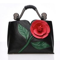 Wholesale Pink Rose Handbag - Brand Women tote bag with a flower bucket bag high quality PU leather handbag vintage shoulder messenger bags 3D Rose bags 7 Colors
