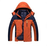 Wholesale Double Layer Ski Jacket - Wholesale-2016 Men Hiking Climbing Outdoor Camping Warm Coats Male Windproof Ski Jackets Double Layer 2in1 Windbreaker