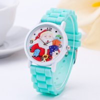Wholesale Silicon Kids Watch - 10 Colors Cute Cartoon Silicon Quartz Watch for Children Santa Claus Pattern Wristwatches Kids Christmas Gifts 100pcs lot