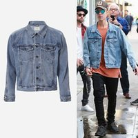 Wholesale Vintage Denim Jackets For Men - Men's Vintage Denim Jackets Famous Designer JUSTIN BIEBER Coat for Men Causal Hip hop Rock Male Outerwear Jackets J01