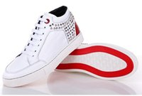 Wholesale Ladies Sneakers Prices - 7 kinds Luxury brands Royaums High Top Ladies And Mens Comfortable Daily Sneakers Leather with rivets decoration casual shoes In Cheap Price