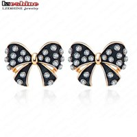 Rússia Hot Selling Black <b>Enamel Bowknot</b> Stud Earrings Rose Gold Color Pendentes De Cristal Austríaco Para Mulheres ER0079-A 17902