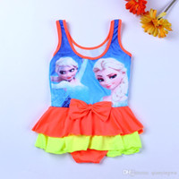 Wholesale Girl S One Piece Dresses - Promotion! 2015 new Bowknot girls dress cute cartoon children swimsuit children swimming wear baby girls camisole dress 5 colors