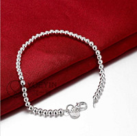 Wholesale Hollow Rope Chain - Free shipping, latest fashion bracelet design, sell 925 sterling silver 4 mm hollow bead bracelet