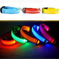 ingrosso cani leggeri-Nuovo LED di ricarica Collare per cane da compagnia Night Safety LED Light lampeggiante Glow Dog Pet Guinzaglio Collare per cani Lampeggiante Collare di sicurezza S-M-L-XL WX-G11