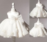 Wholesale Toddler New Years Gown - 2016 NEW baby girl baptism dress bow kids baby 1 year birthday dress for girls toddler princess tutu dress for special events