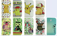 Wholesale Silicone Case Owl - Pikachu Cartoon Leather Wallet Pouch For Iphone 7 I7 Plus Huawei P8 Samsung Galaxy J120 J1 2016 Owl Tower Stand Cards TPU Phone Cover 50pcs
