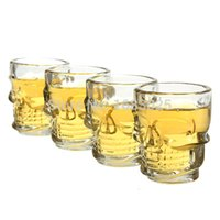 Wholesale Whiskey Crystal Set - 100% Brand New Mini Clear Crystal Skull Head Bone Vodka Whiskey Beer Glass 4PCS SET Drink Bottle Home Bar Party Cup