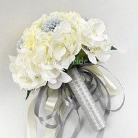 Wholesale Grey Wedding Bouquets - Free Shipping High Quality Hybrid Grey  Ivory Bridal Bouquet Bride Throw Flower Wedding 100% Handmade Bridesmaid Bouquet with Elegant Ribbon