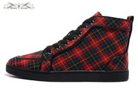 Taille 36-46 Hommes Femmes Red Plaid Canvas High Top Red Bottom New Fashion Sneakers, Unisexe Flats Luxury Brand, confortable UE Sole Souliers