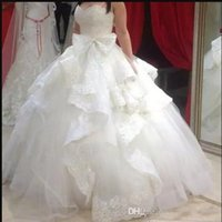 Wholesale Dress Crystal Neckline Trim - Ball Gown Wedding Dresses 2018 vestidos de novia Sweetheart Neckline Tiered Ruffled Trimmed Lace Puffy Tulle Bridal Gowns