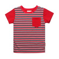 Wholesale Summer Striped Shirts For Boys - Wholesale Meney's Striped T-shirts for Boys Summer Casual Tees Baby Tops 1 ~ 8 years Red Breast Pocket Fashion T shirts for Kids Children