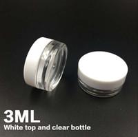muestras gratis de arte de uñas al por mayor-Envío gratis Blanco Top 3G Travel transparente ronda olla de crema 3ML frascos recipiente de la olla contenedor de muestra de plástico transparente para el arte del clavo de almacenamiento