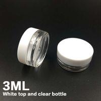 freie nagelkunstproben groihandel-Kostenloser Versand Weiß Top 3G Reise transparent runde Creme Topf 3 ML Gläser Topfbehälter klar Kunststoff Probe Container für Nagel Kunst Lagerung