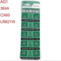 Wholesale Button Cell Lr621 - AG1 LR621 364A CX60 1.55V 180mAh 6.8*2.1mm watch Fitting Wholesale electronic battery Alkaline button cell battery