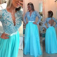 Wholesale Chiffon Back Bow Dress - Charming Lace and Chiffon V-neck Long Sleeves A-line Evening Dresses Pearls Beading Blue Prom Dress with Bow Illusion Back