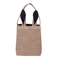 Wholesale Fedex Shipping Materials - 30PCS Easter Bunny Ears Bag Jute Cloth Material Gift Bags Easter Celebration Decoration Bags DHL Fedex Free Shipping