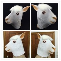 Wholesale Cat Head Costume Adult - New Alpaca Mask Funny Animal Head Latex Mask Party Cosplay Mask Adult Mask Halloween Costume Theater Prop Novelty A092140