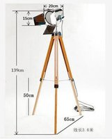 Wholesale Floor Lamps Retro - America Europe Style Retro Wooden Tripod Triangle Lifting Structure Unique Photographic Floor Lamps Living Room Bedroom Floor Lights Lamp