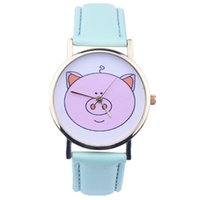 Wholesale Kids Girls Bracelet Watches - Wholesales Women Girls Cute Pig Quartz Bracelet Watches Children Kids Female Geneva Dress Analog Watches For Women 100pcs lot For Christmas
