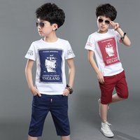 Wholesale Children S Clothing Leopard Print - Children Boys Clothing Set Cotton Summer Navy Blue Red Pullover Boat Print T Shirt Shorts Boy Sports Suit 4-12years Tracksuit