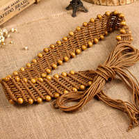 Wholesale Cummerbunds Beads - Wholesale- Fashion National trend belts for women knitted wide belt bohemia match dress cummerbund wooden beads beaded belly chain
