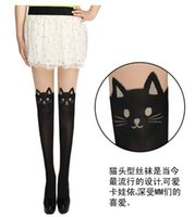 Wholesale Sexy Tattoos Women Cartoon - Wholesale-Sexy women lovely fashion cute cat beart Tattoo Black Tinted False High Stocking Pantyhose Tight cartoon new