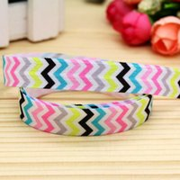 """Wholesale Chevron Items - 5 8"""" 16mm Colorful 6 Colors Chevron Fold Over Elastic-FOE Printed Ribbon for Baby Craft Hair Item Bow Party Garment A2-F-917"""