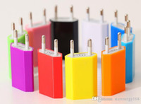 Wholesale Ipad Mini Power Dock - 1000PCS 5V 1A Colorful EU US Plug USB Wall Charg AC Power Adapter for iphone 6 6S 7 Plus ipad mini S5 S4 ipad2 USB cell phone tablet pc C-SC
