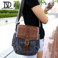 Wholesale Small Shoulder Satchel Men - TSD Fashion canvas bags for men and women leather shoulder bags business bags brown patchwork casual sports bag distressed601723 freeshippi