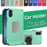 Wholesale Car Cover Layer - Car Holder Magnetic Phone Shockproof Protective Case Soft TPU Armor Hybrid Dual Layer Skin Cover For iPhone X 8 7 Plus Samsung Note 8 S8