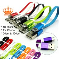 Wholesale Colorful 1m Micro Usb - Charger Cable For Galaxy note 3 Micro USB 1M 3ft Flat Thin Small Noodle Data Charging Adapter Cords for Samsung Colorful