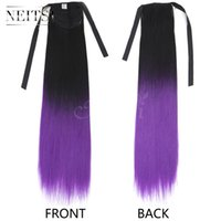 Neitsi 22inch 1pc B.Purple # Straight Synthetic Ponytails Clips Fácil Ombre Highlight Ponytail Clip en extensiones sintéticas del pelo