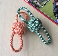 Wholesale Dog Rope Cotton - DHL free shipping Rope Braided Ball Dog Chew Toys Puppy Cotton Chewing Ball Bone Knot Indestructible Dog Toys for Aggressive Chewers