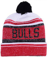 Wholesale Wholesale Football Caps Hats - New Beanies Chicago Knit Baseketball Beanie Sport Knit Hat Pom Knit Hats Sports Cap Beanies Hat Mix Match Order All Caps Top Quality Hat