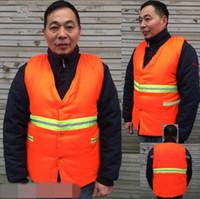 Wholesale wholesale vest jacket men - Safety Clothing Reflective Wadded Jacket Vest Security Visibility Reflective Vest Reflective Clothes Construction Traffic Vest CCA8294 10pcs