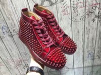 High Top Spikes Casual Flats Lou Red Bottom Shoes Luxury Patent Leather Vinho-vermelho, preto Designer Unisex Men Women Sneakers - Party Wedding