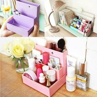 desk makeup organizer Canada - High Quality New Paper Board Storage Box Desk Decor Stationery Makeup Cosmetic Organizer Make Up Case