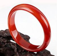 pulseras rojas de jade blanco al por mayor-El brazalete natural de la pulsera roja de la mano del hetian de la pulsera de jian del gobian, brazaletes de jade del diámetro de 55mm-62mm brac de jade blanco Envío libre